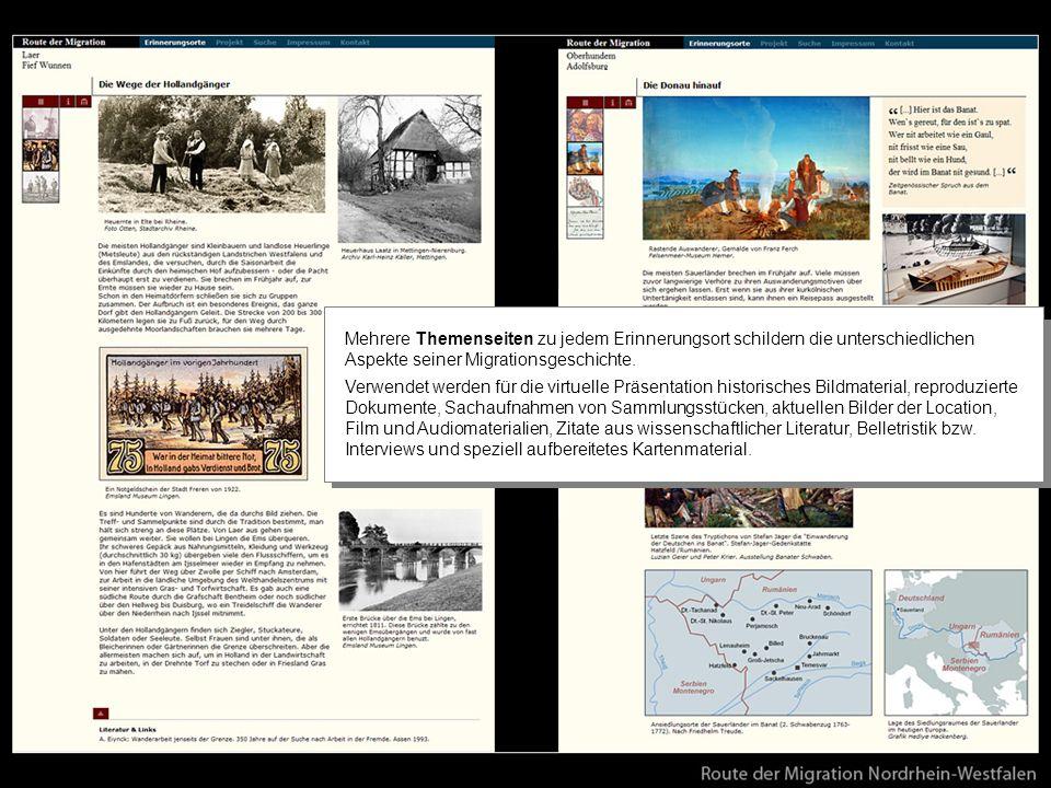 Mehrere Themenseiten zu jedem Erinnerungsort schildern die unterschiedlichen Aspekte seiner Migrationsgeschichte.
