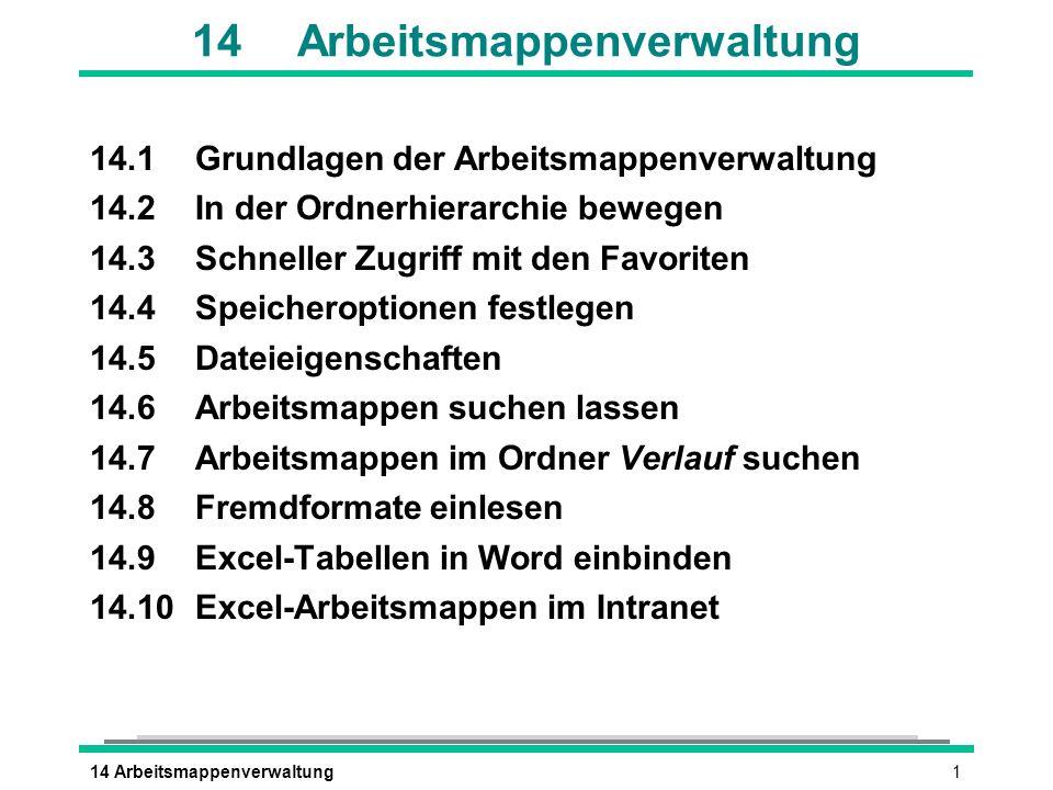 14 Arbeitsmappenverwaltung