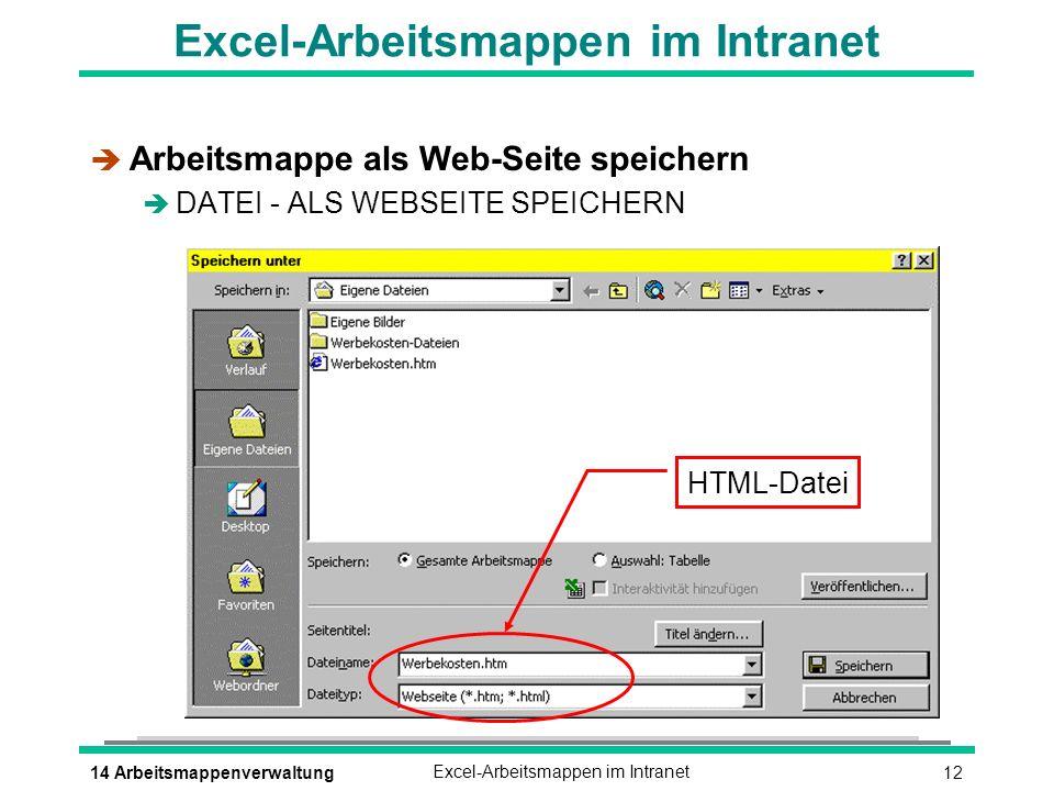 Excel-Arbeitsmappen im Intranet