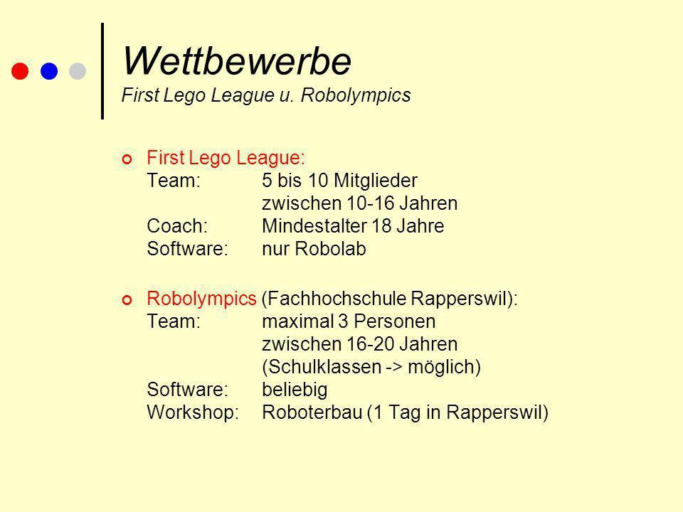 Wettbewerbe First Lego League u. Robolympics