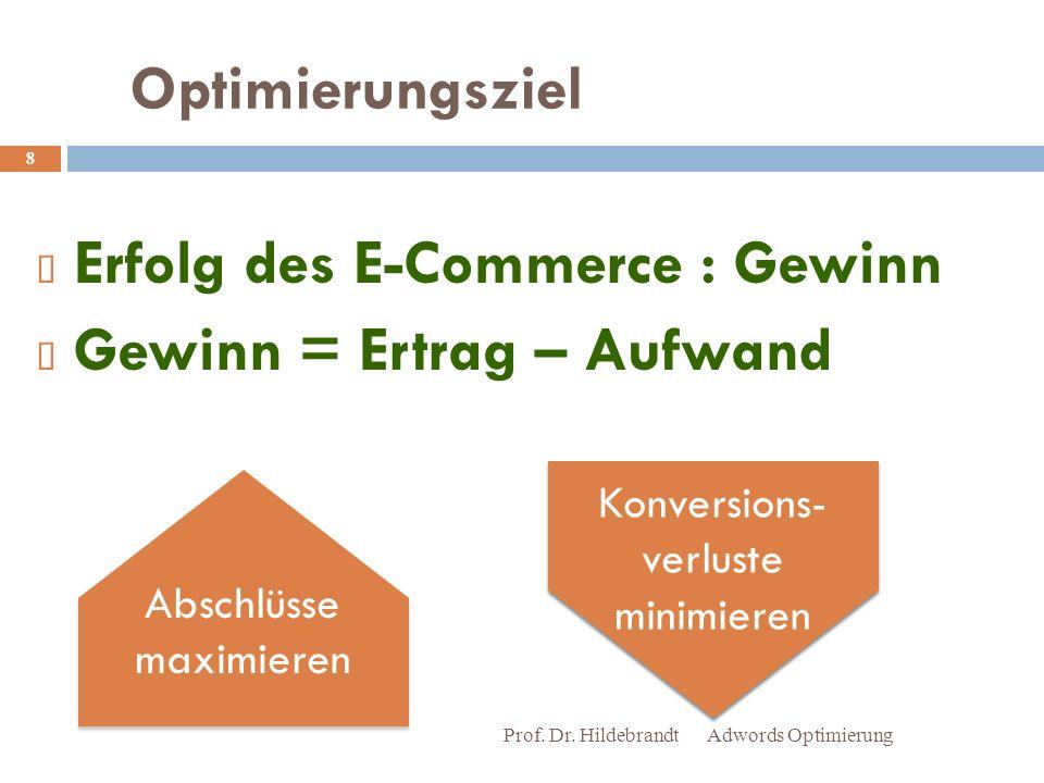 Erfolg des E-Commerce : Gewinn Gewinn = Ertrag – Aufwand