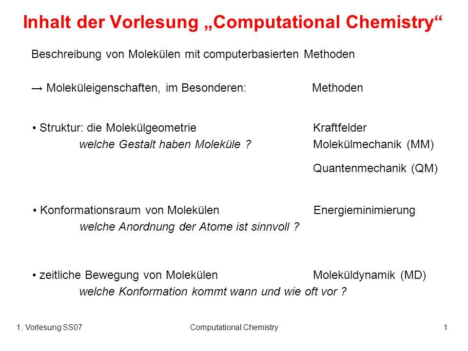 """Inhalt der Vorlesung """"Computational Chemistry"""