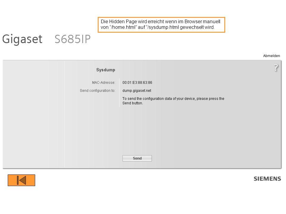 Die Hidden Page wird erreicht wenn im Browser manuell