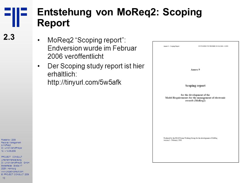 Entstehung von MoReq2: Scoping Report