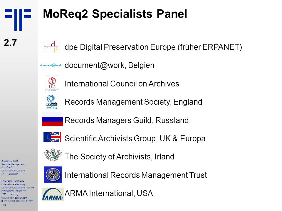 MoReq2 Specialists Panel