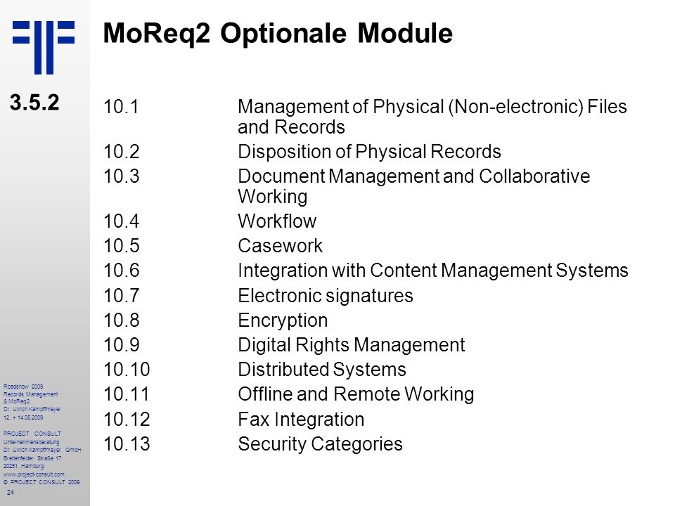 MoReq2 Optionale Module