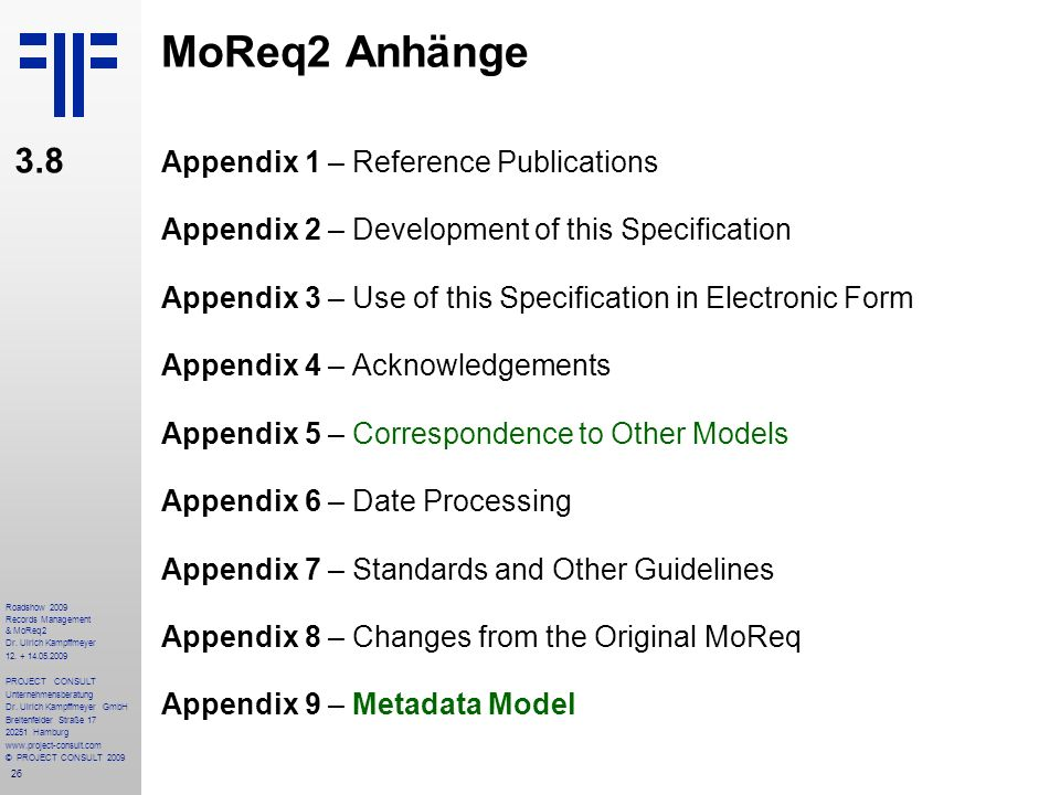 MoReq2 Anhänge 3.8 Appendix 1 – Reference Publications