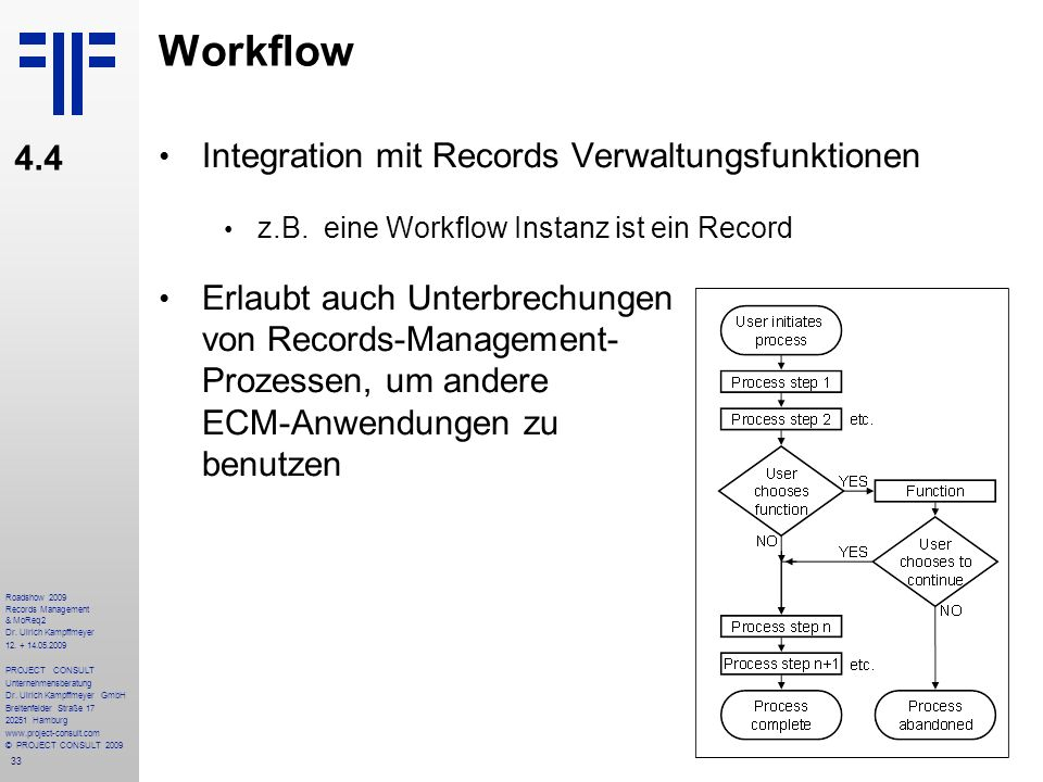 Workflow 4.4 Integration mit Records Verwaltungsfunktionen