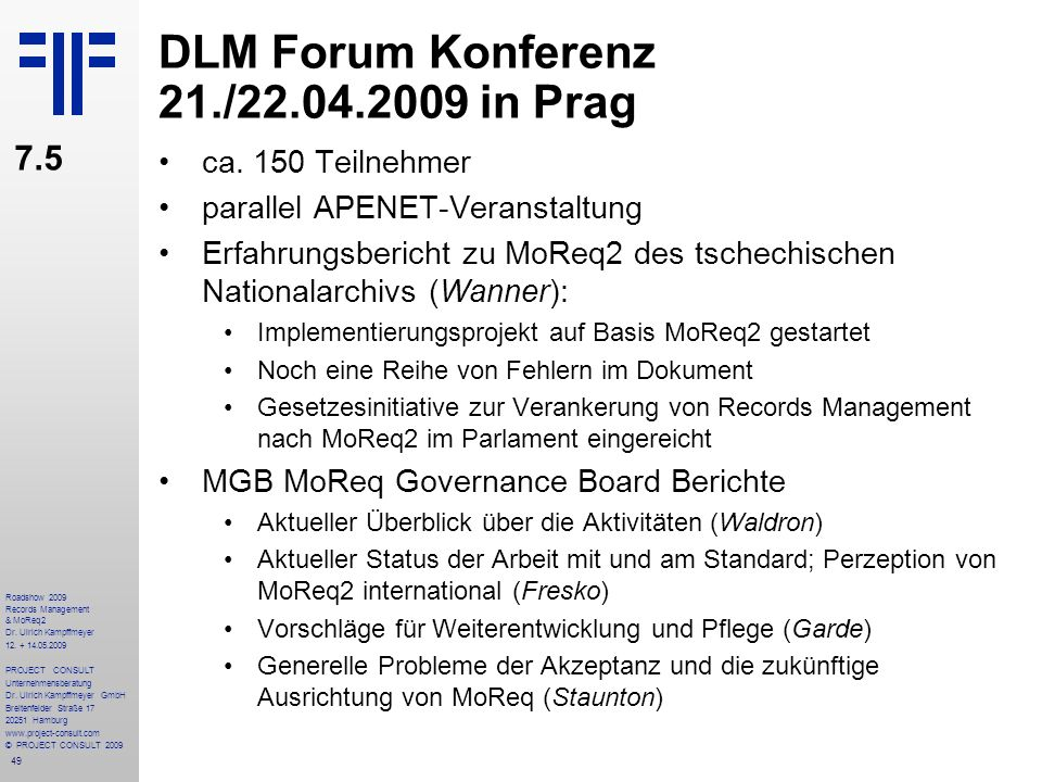 DLM Forum Konferenz 21./22.04.2009 in Prag
