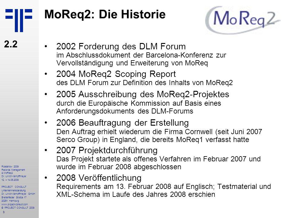MoReq2: Die Historie 2.2. 2002 Forderung des DLM Forum im Abschlussdokument der Barcelona-Konferenz zur Vervollständigung und Erweiterung von MoReq.