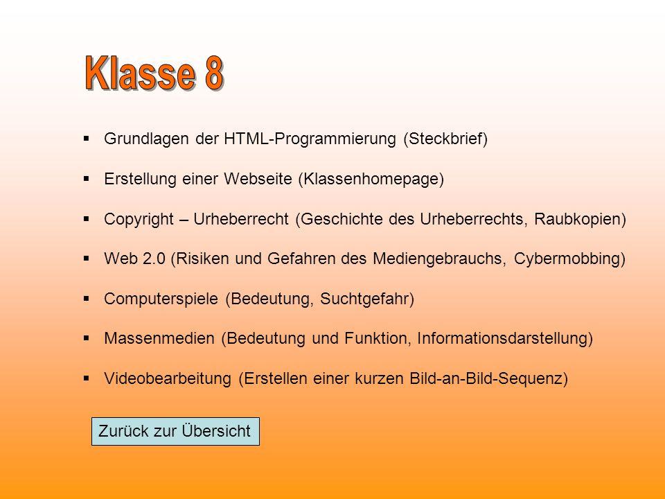 Klasse 8 Grundlagen der HTML-Programmierung (Steckbrief)