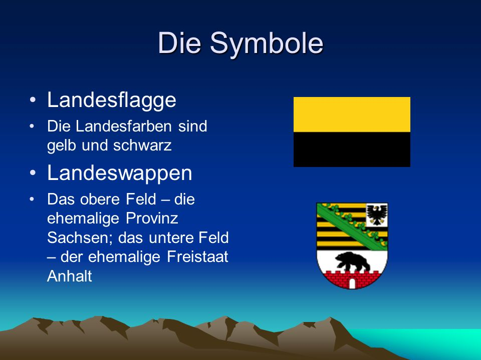 Die Symbole Landesflagge Landeswappen