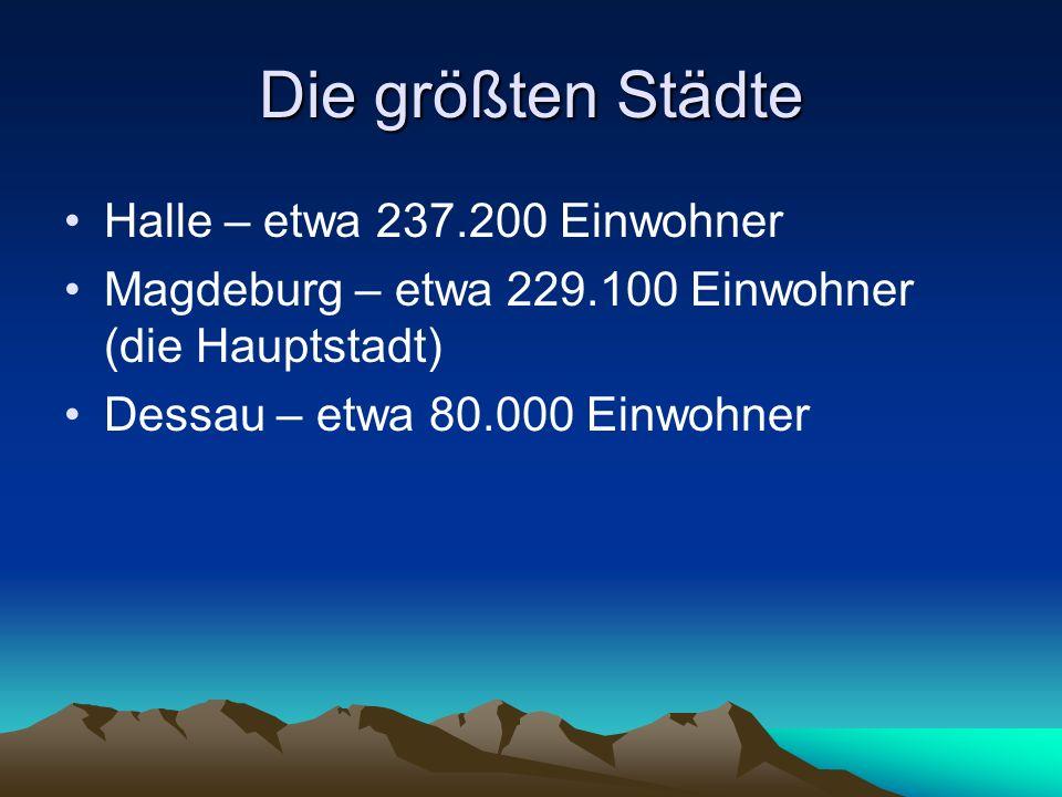 Die größten Städte Halle – etwa 237.200 Einwohner