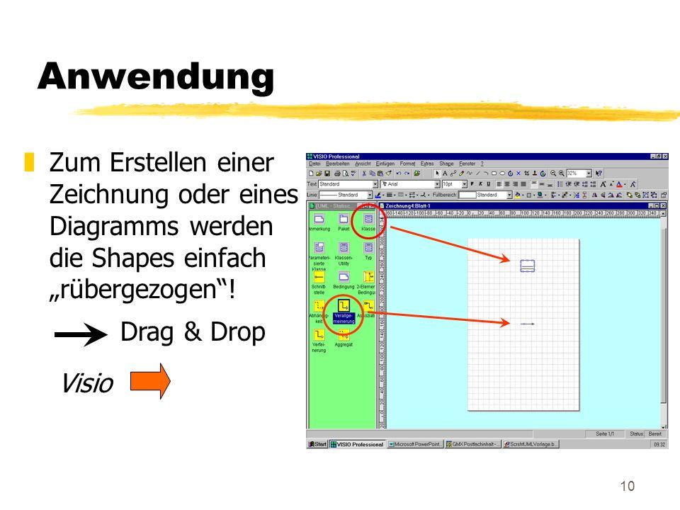 """Anwendung Zum Erstellen einer Zeichnung oder eines Diagramms werden die Shapes einfach """"rübergezogen !"""