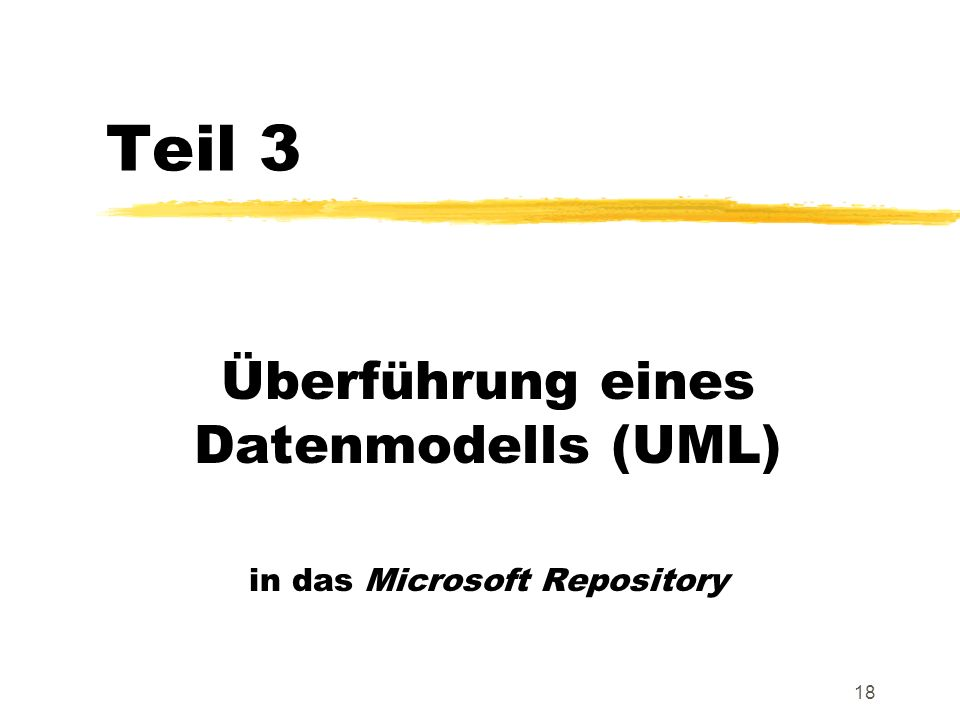 Überführung eines Datenmodells (UML) in das Microsoft Repository