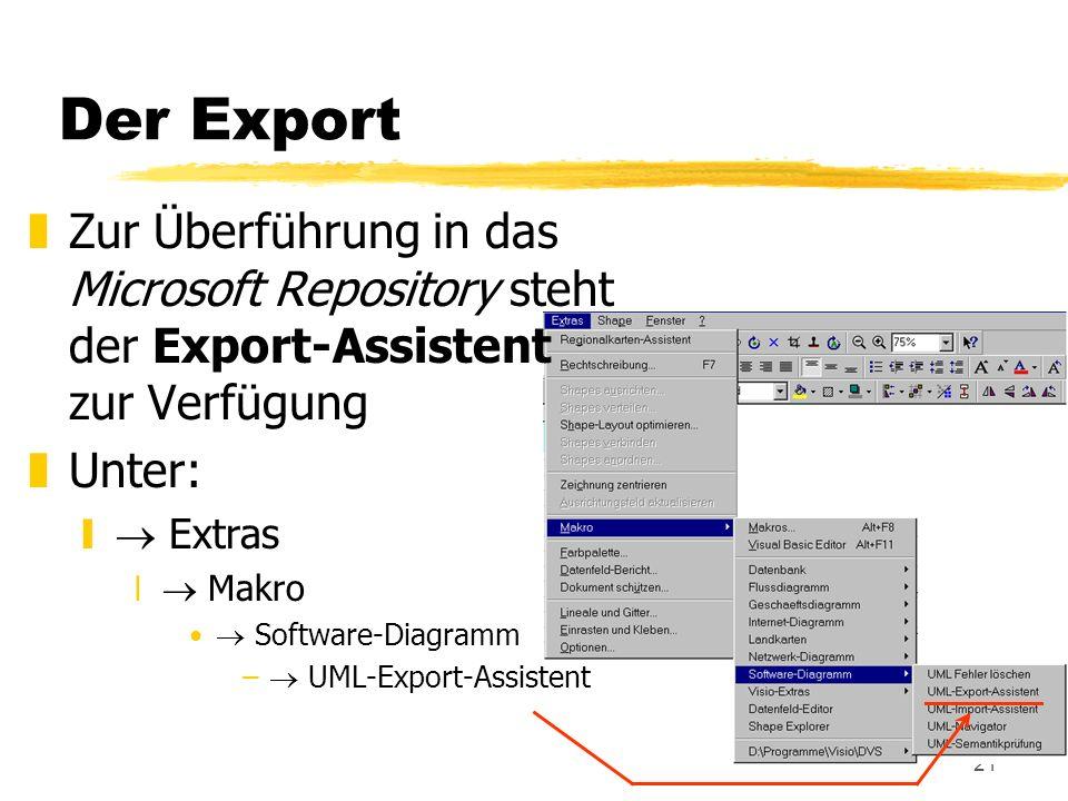 Der Export Zur Überführung in das Microsoft Repository steht der Export-Assistent zur Verfügung.
