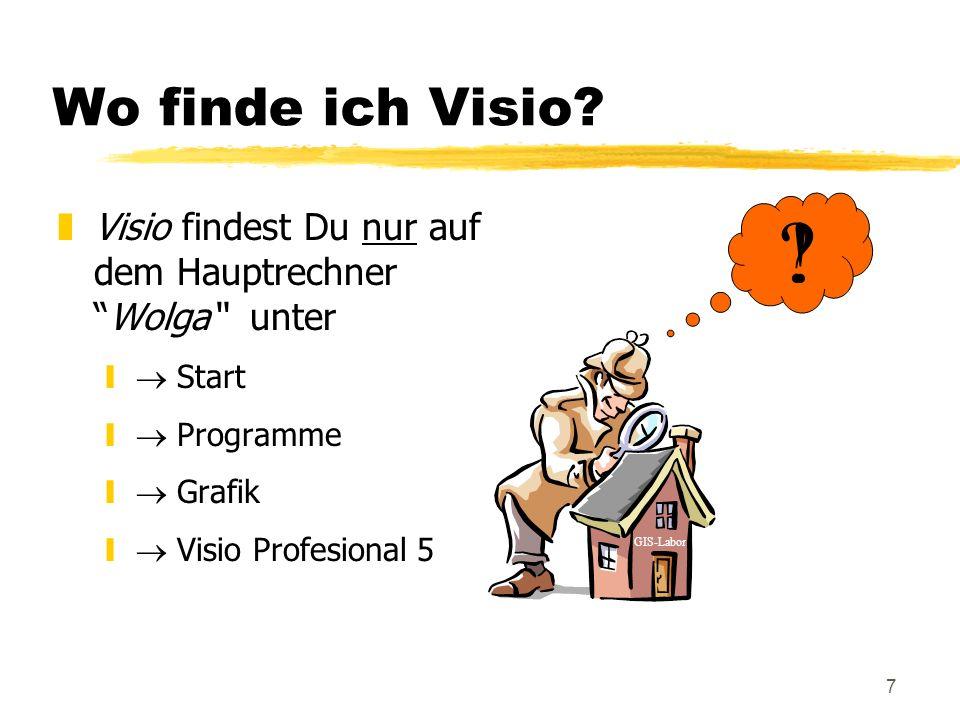 Wo finde ich Visio Visio findest Du nur auf dem Hauptrechner Wolga unter.  Start.  Programme.