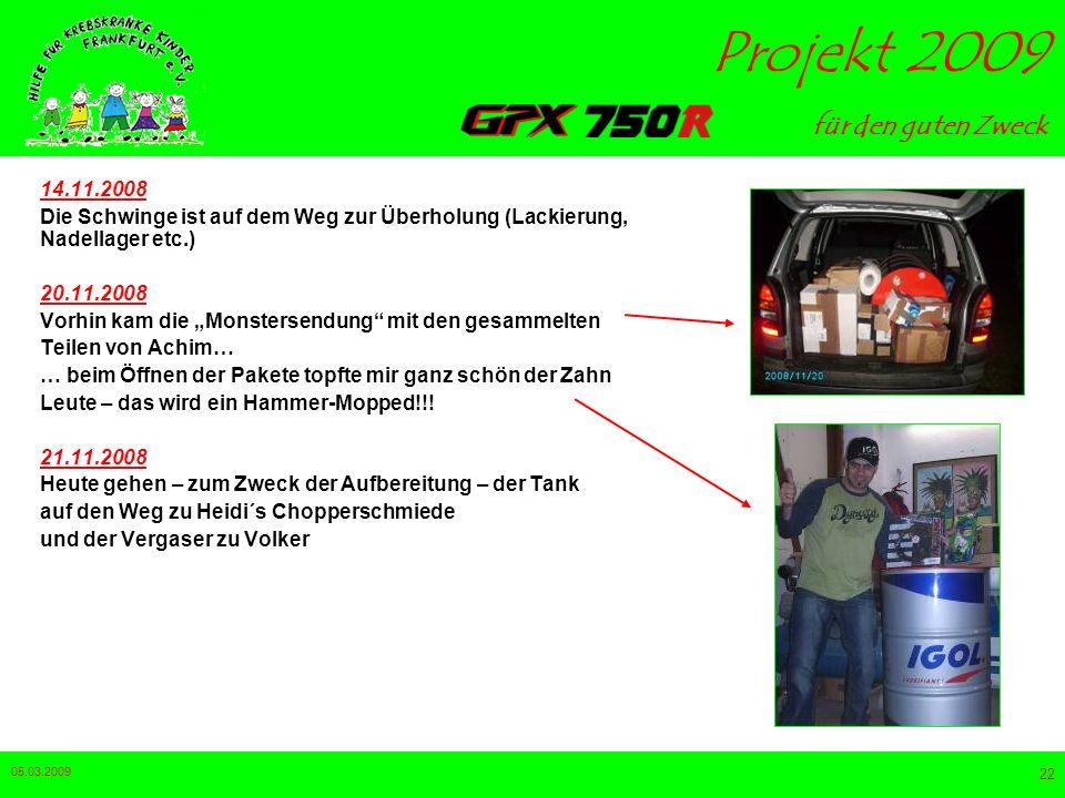 14.11.2008 Die Schwinge ist auf dem Weg zur Überholung (Lackierung, Nadellager etc.) 20.11.2008.