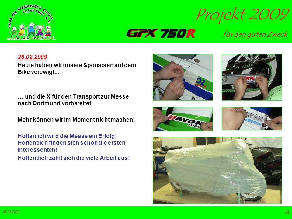 28.02.2009 Heute haben wir unsere Sponsoren auf dem Bike verewigt... … und die X für den Transport zur Messe nach Dortmund vorbereitet.