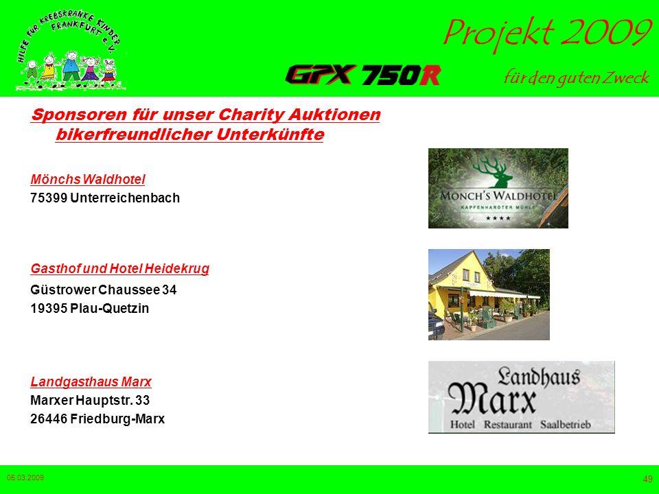 Sponsoren für unser Charity Auktionen bikerfreundlicher Unterkünfte