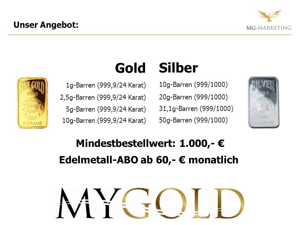 Mindestbestellwert: 1.000,- € Edelmetall-ABO ab 60,- € monatlich