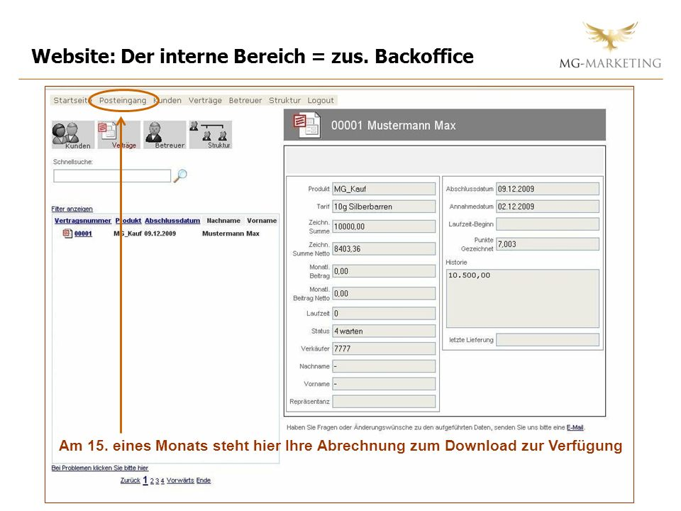 Website: Der interne Bereich = zus. Backoffice