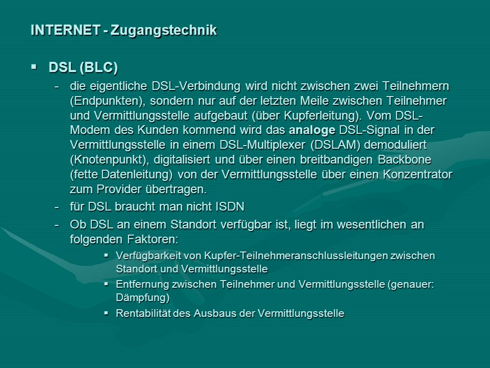 INTERNET - Zugangstechnik
