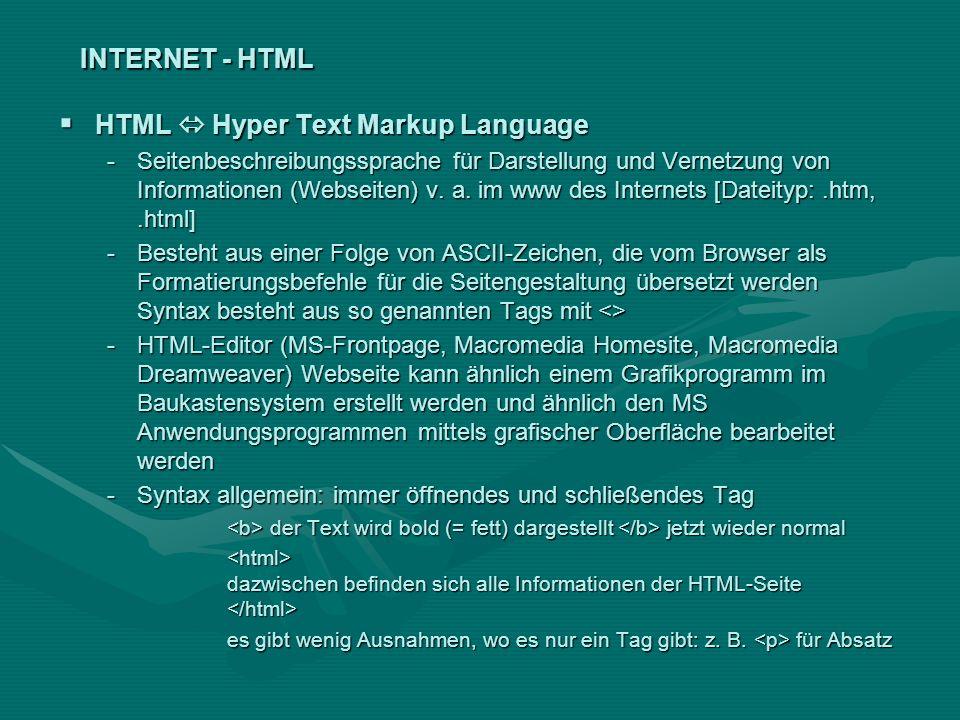 HTML  Hyper Text Markup Language