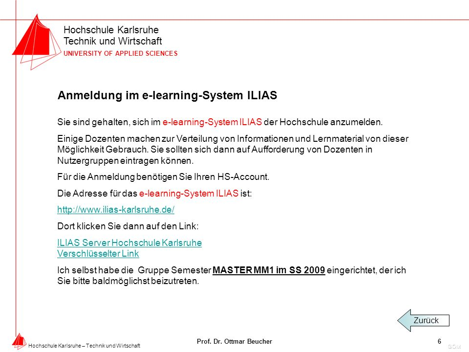 Anmeldung im e-learning-System ILIAS