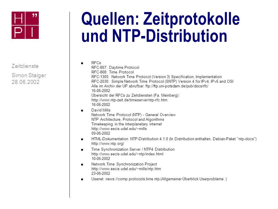 Quellen: Zeitprotokolle und NTP-Distribution