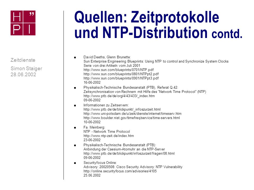 Quellen: Zeitprotokolle und NTP-Distribution contd.