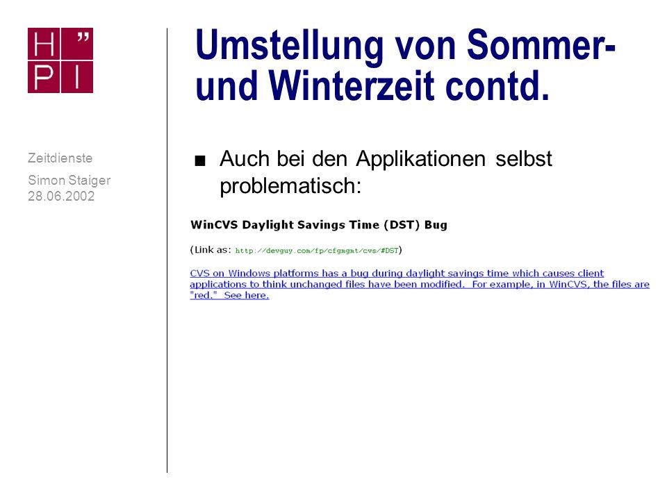 Umstellung von Sommer- und Winterzeit contd.