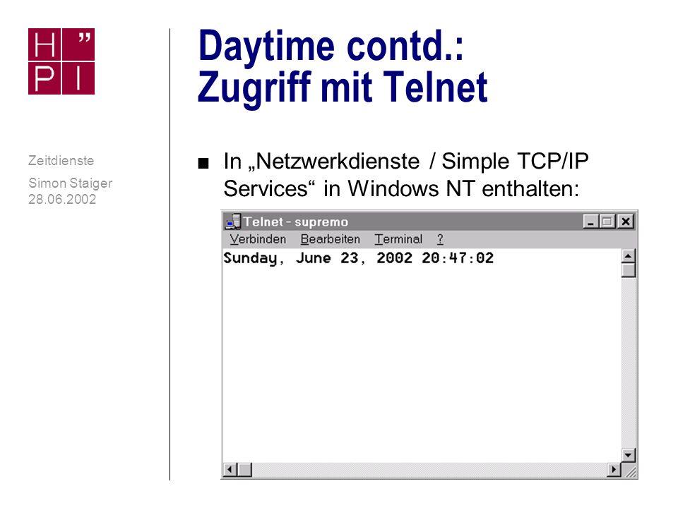 Daytime contd.: Zugriff mit Telnet