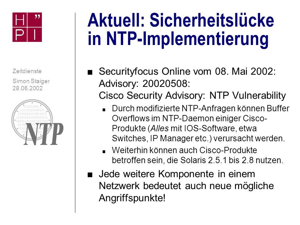 Aktuell: Sicherheitslücke in NTP-Implementierung