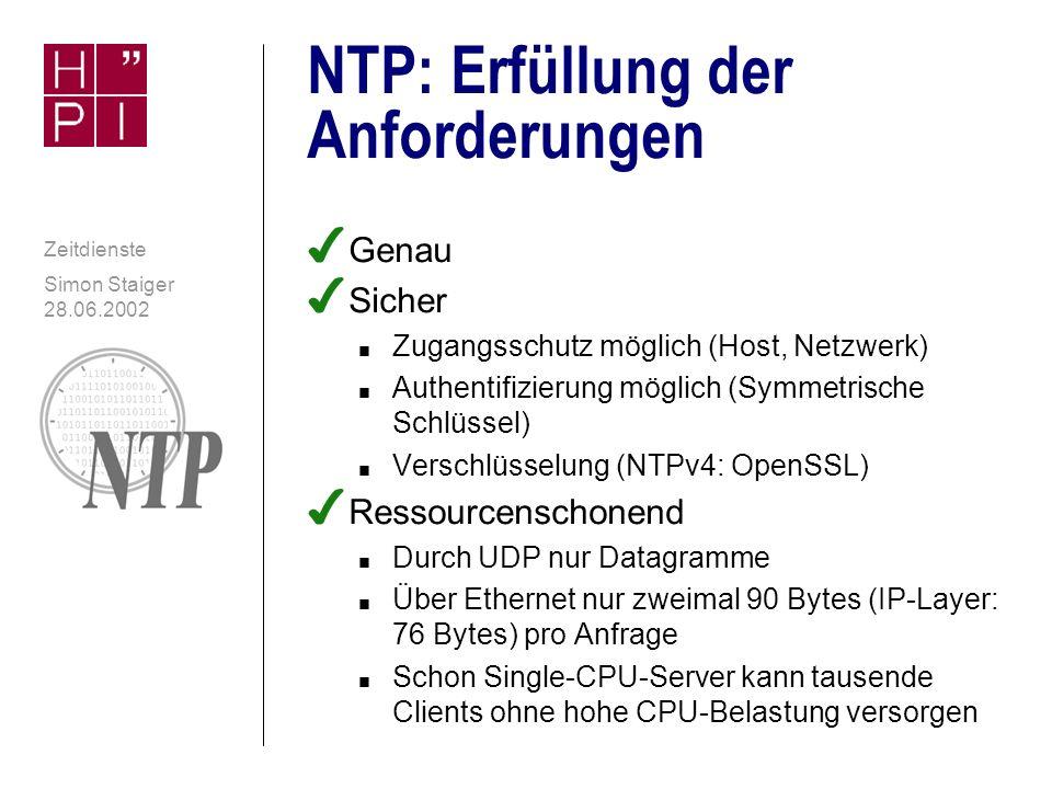 NTP: Erfüllung der Anforderungen