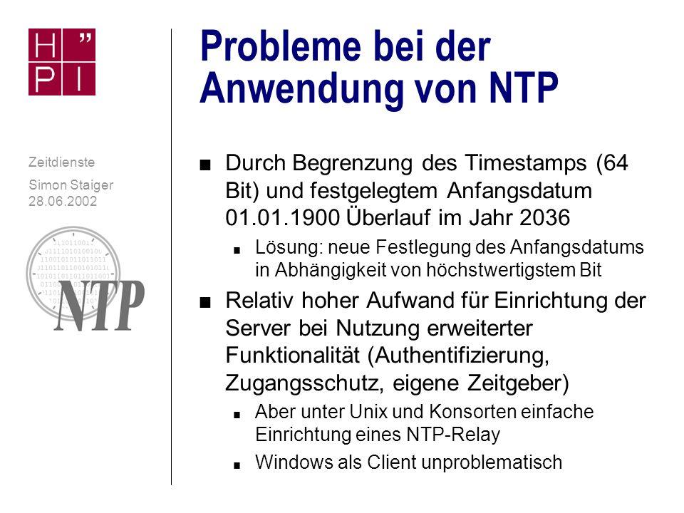Probleme bei der Anwendung von NTP