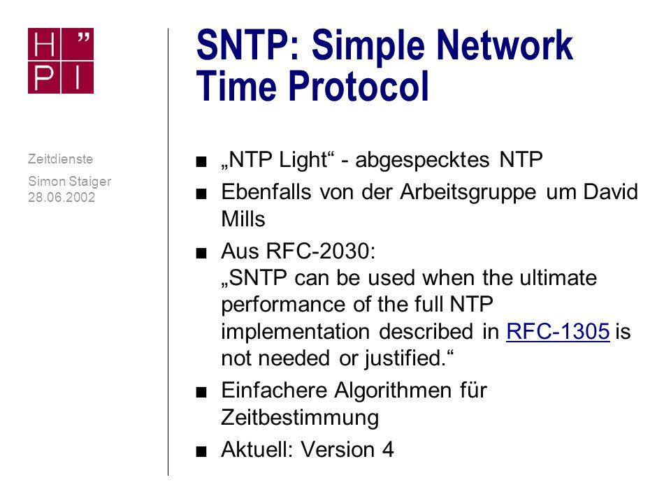 SNTP: Simple Network Time Protocol