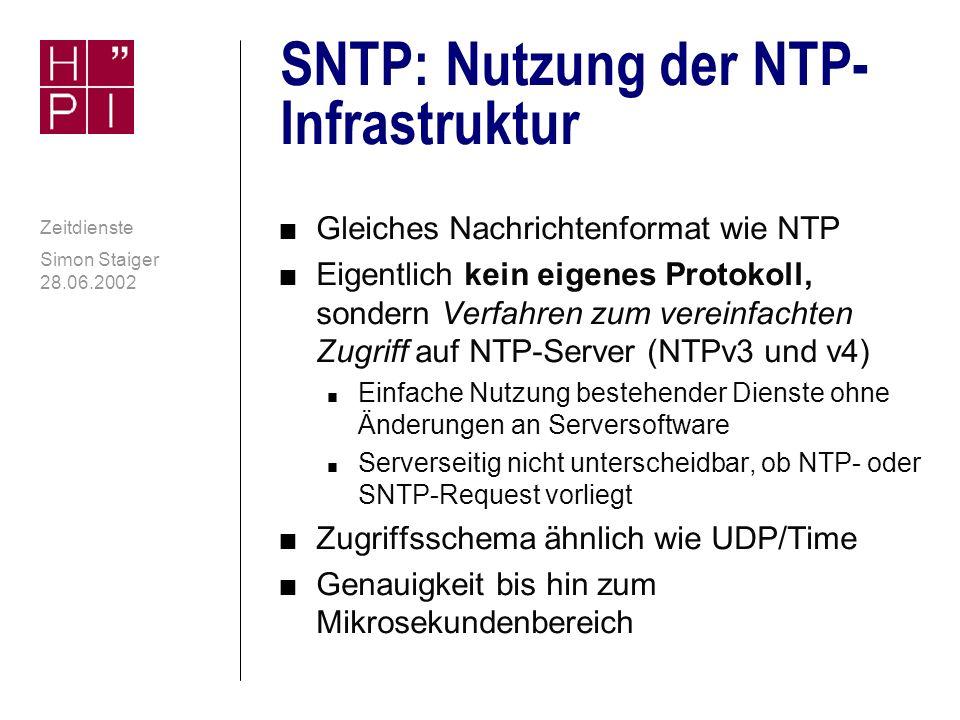 SNTP: Nutzung der NTP-Infrastruktur