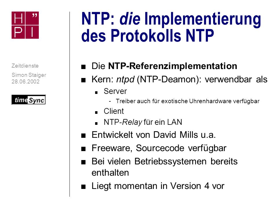NTP: die Implementierung des Protokolls NTP