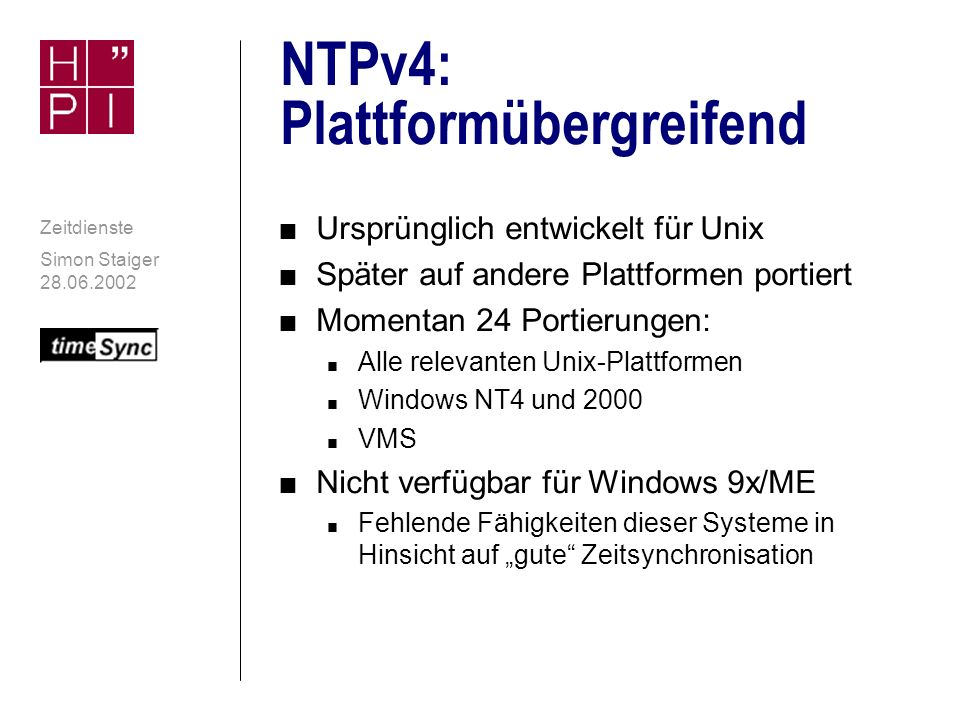 NTPv4: Plattformübergreifend