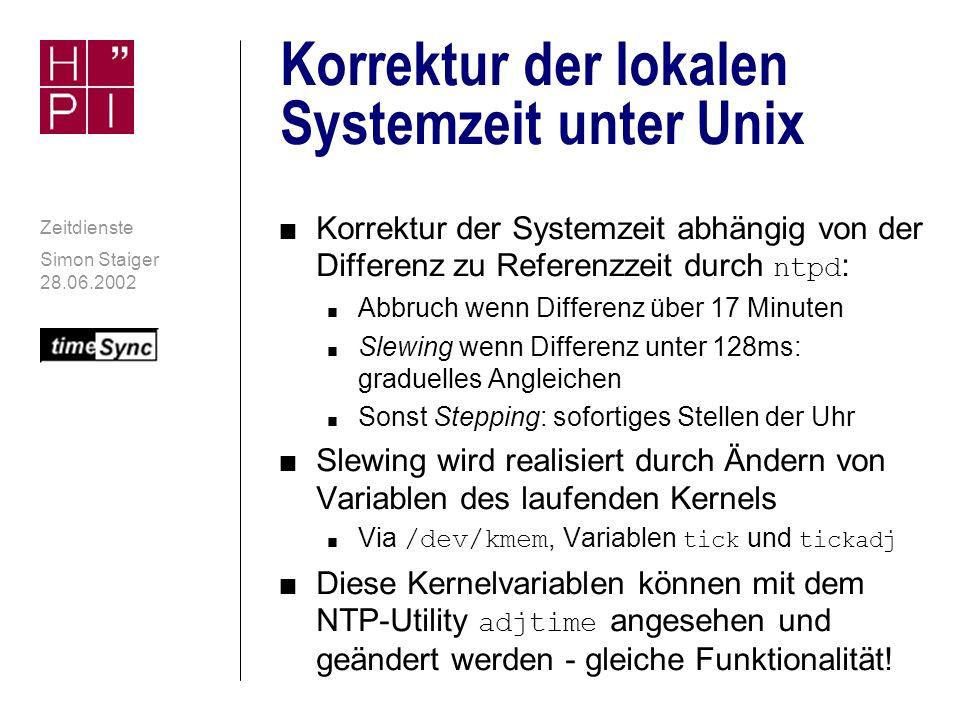 Korrektur der lokalen Systemzeit unter Unix