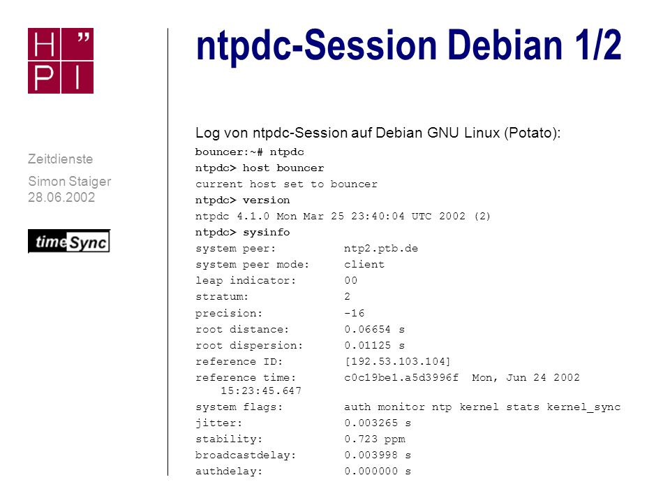 ntpdc-Session Debian 1/2