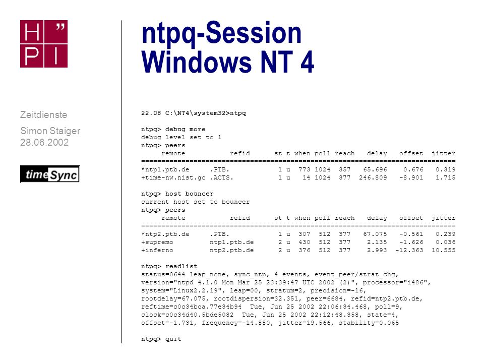 ntpq-Session Windows NT 4