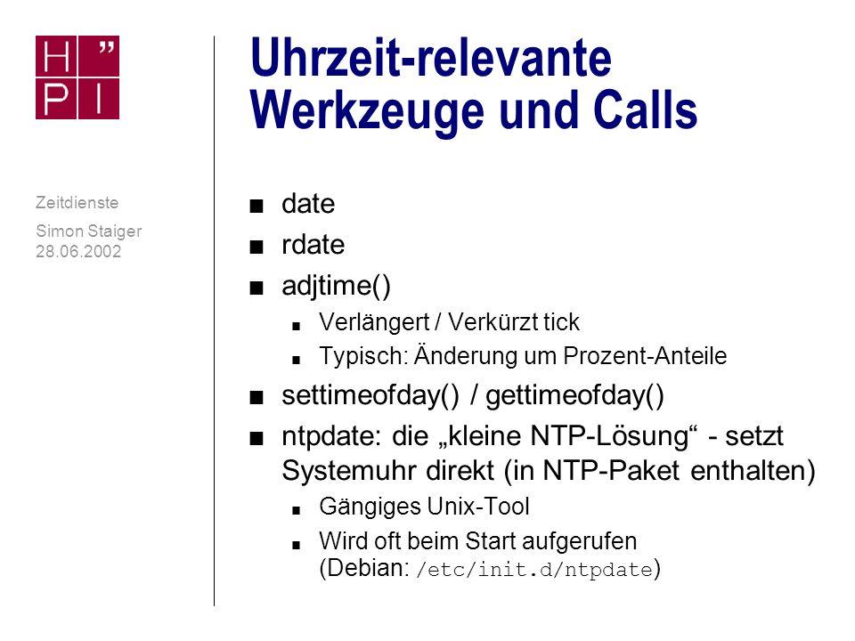 Uhrzeit-relevante Werkzeuge und Calls