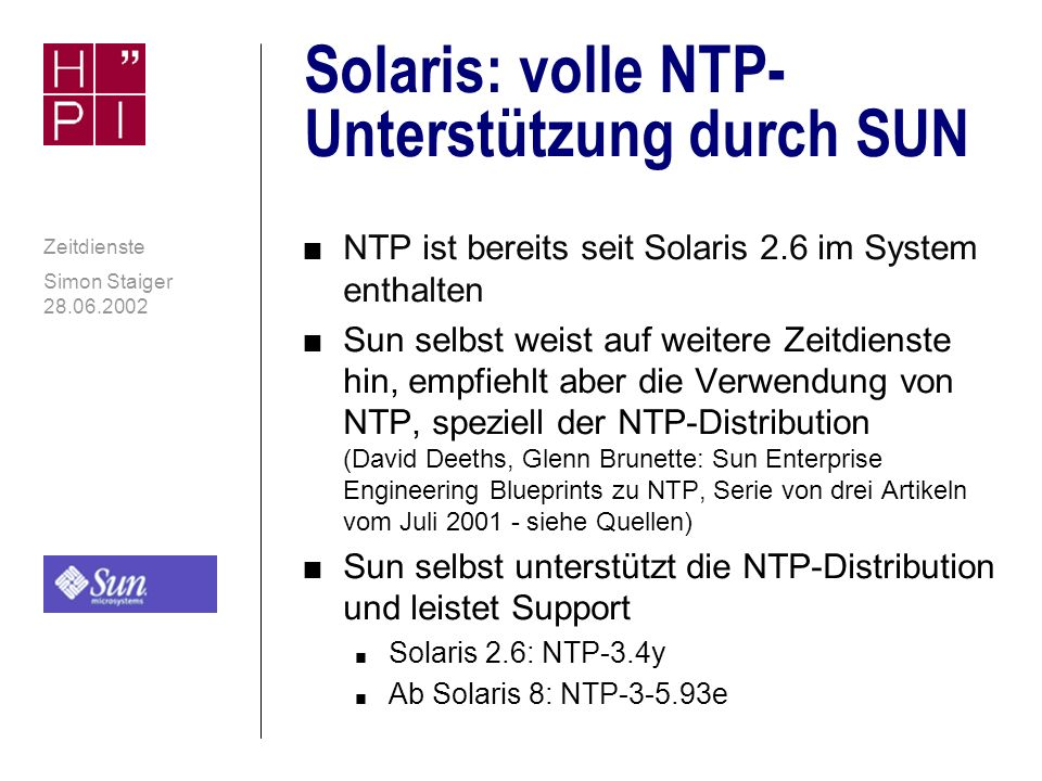 Solaris: volle NTP-Unterstützung durch SUN