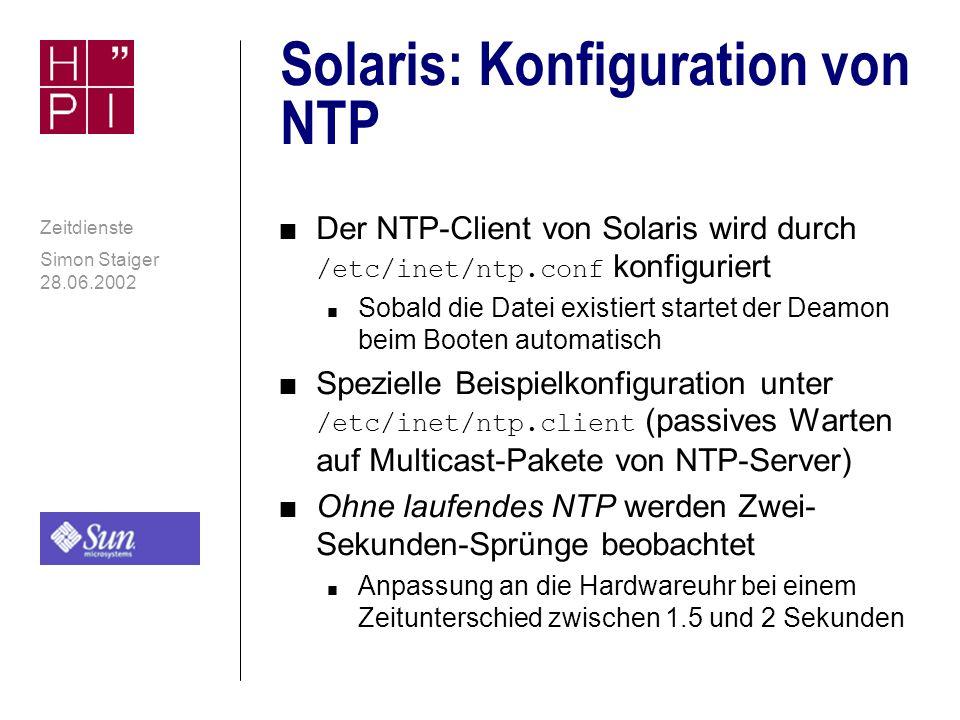 Solaris: Konfiguration von NTP