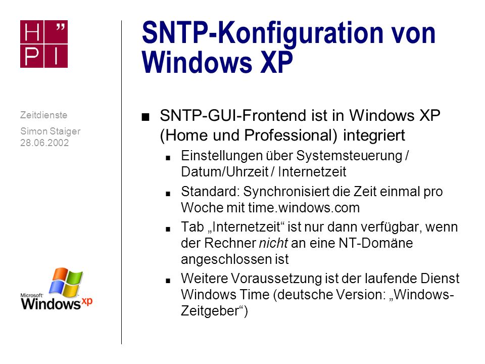 SNTP-Konfiguration von Windows XP