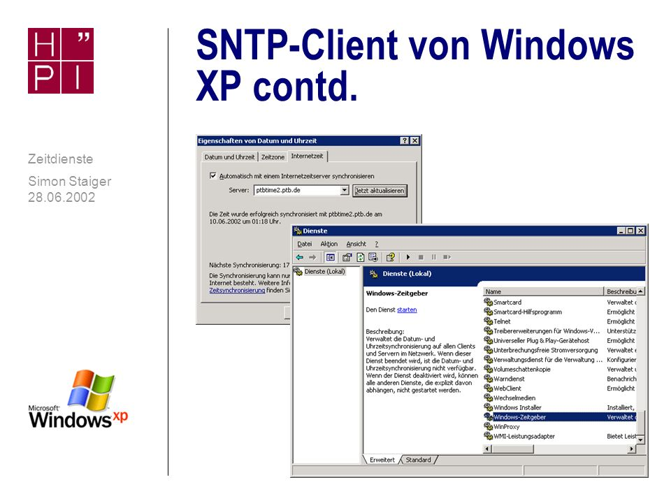 SNTP-Client von Windows XP contd.