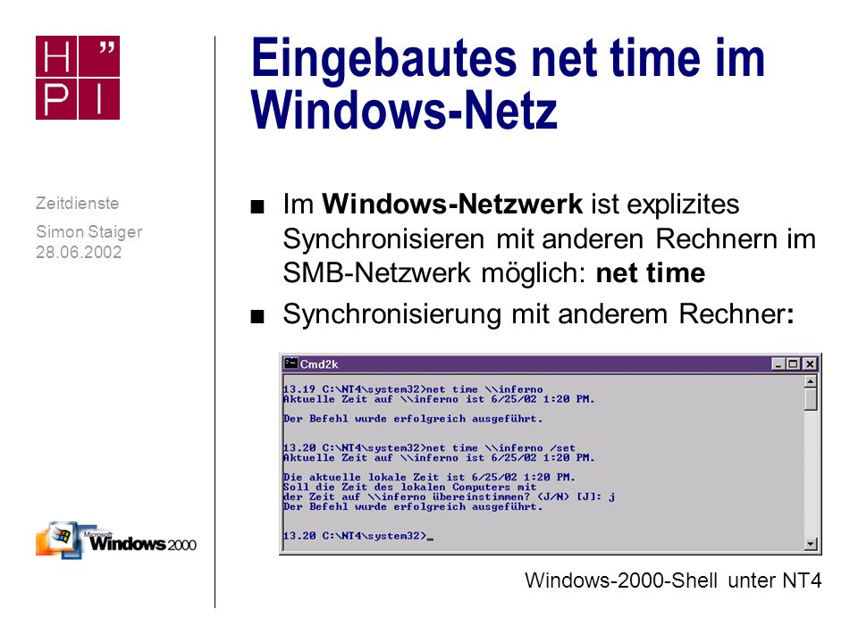 Eingebautes net time im Windows-Netz