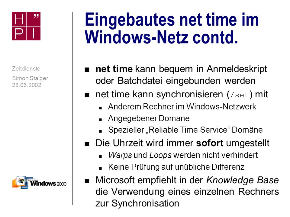 Eingebautes net time im Windows-Netz contd.